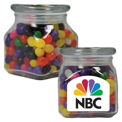 Large Square Apothecary Jar Corporate Color Jelly Beans