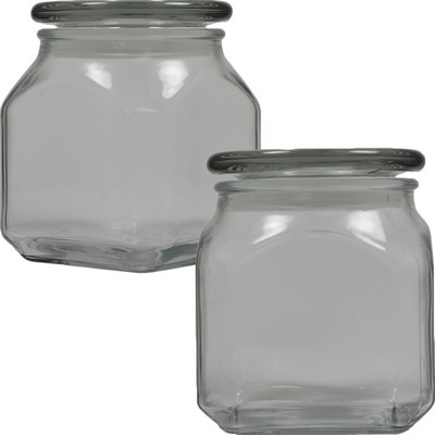 Large Square Apothecary Jar Empty