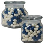 Picture of Small Square Apothecary Jar Corporate Color Jelly Beans