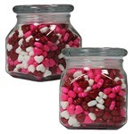 Picture of Small Square Apothecary Jar Hearts