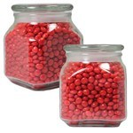 Picture of Small Square Apothecary Jar Red Hots