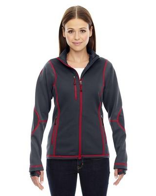 North End Red LadiesPulse Textured Bonded Fleece Jacket