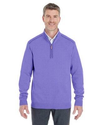 Devon & Jones Mens Manchester Fully-Fashioned Half-Zip Sweater