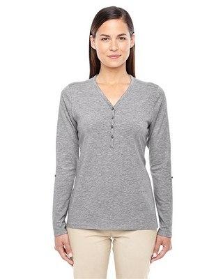Devon & Jones Ladies Perfect Fit Y-Placket Convertible Sleeve Knit Top