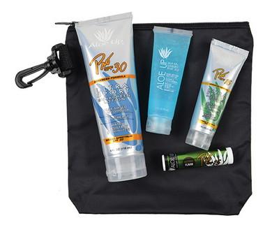 Deluxe Nylon Clip Bag with 30 SPF Sunscreen, 15 SPF Sunscreen, Jelly and Lip Balm
