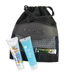 Picture of Drawstring Faux Suede Bag with Sunscreen, Jelly and Lip Balm