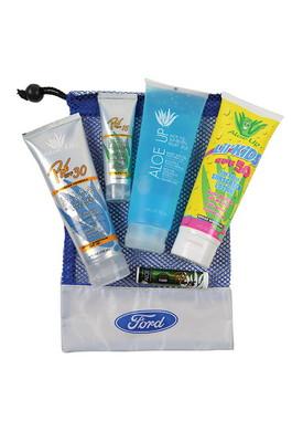 Large Mesh Bag with Sunscreen, Sunscreen, Jelly, Kids Sunscreen and SPF 15 Lip Balm