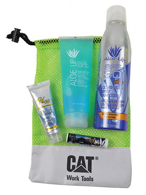 Large Mesh Bag with Sunscreen Spray, Sunscreen tube, Jelly and SPF 15 Lip Balm