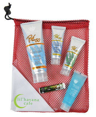 Large Mesh Bag with Pro 50 SPF Sunscreen, Pro 30 SPF Sunscreen, Pro 15 SPF Sunscreen, Jelly and Lip Balm