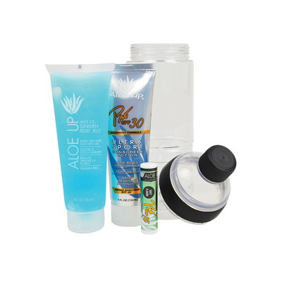 All in One Water Bottle with Pro 30 SPF Sunscreen 4 oz., Aloe Ice Sunburn Relief Jelly 4 oz., SPF 15 Lip Balm