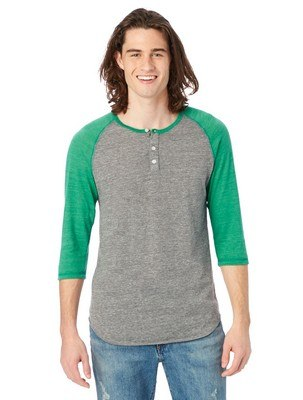 Alternative Basic Eco-Jersey 3/4 Sleeve Raglan Henley Shirt