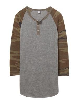 Alternative Basic Printed Eco-Jersey 3/4 Sleeve Raglan Henley Shirt