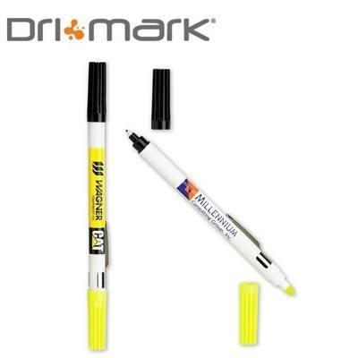 Double Header Nylon Point Pen & Highlighter - White