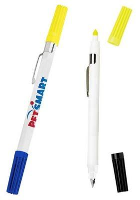 Double Exposure Highlighter & Ballpoint Pen Combo - White