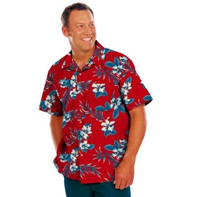 Adult Hibiscus Print Camp Shirts