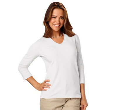 Ladies 3/4 Sleeve V-Neck