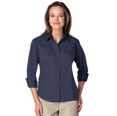 Ladies 3/4 Sleeve Easy Care Poplin with Matching Buttons