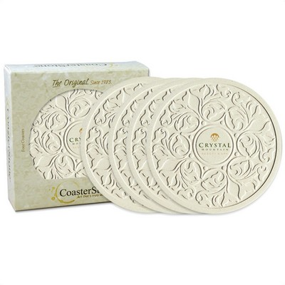 "4-packRound Victorian Lace 4.25"" Stone Coasters"