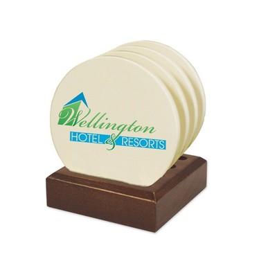 Dark Wood Gift Set With Round Coasters
