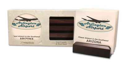 Dark Wood Gift Set With Square Coasters