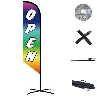 Double Sided Angled Custom Feather Flag  - Outdoor & Indoor Combo