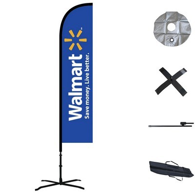 Double Sided Straight Custom Feather Flag  - Outdoor & Indoor Combo