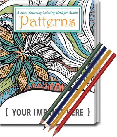 Relax Pack - Patterns Coloring Book and Colored Pencil Set