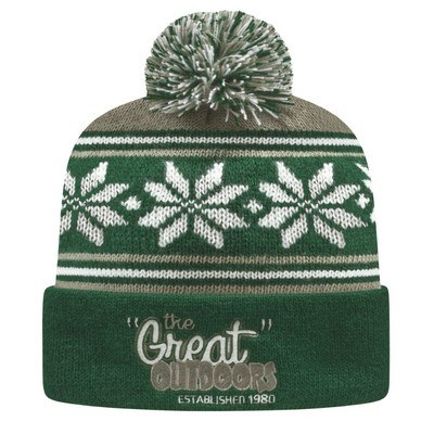Custom USA Made Cuffed Knit Cap w/ Screen Printing - Pom Pom