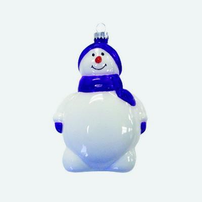 "5"" Glass Snowman Ornament"