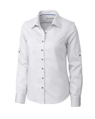 Ladies' Epic Easy Care Mini Herringbone Long Sleeve Button-Up Shirt