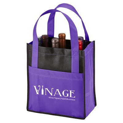 Imprinted Toscana Six Bottle Non-Woven Wine Tote