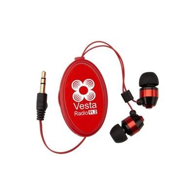 Custom Printed Heavy Metal Retractable Earbuds