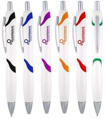 White Accent W Click Pen