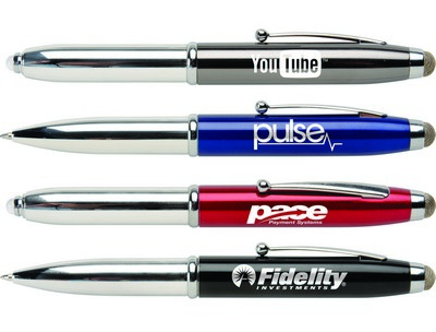 Customisable Macy Triple Function Click Metallic Stylus Ballpoint Pen