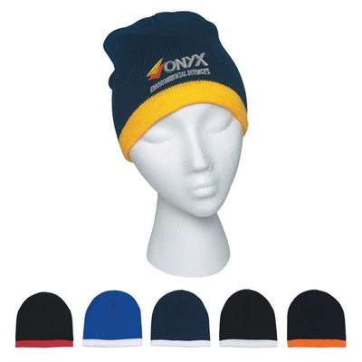 Knit Beanie With Stripe - Embroidered