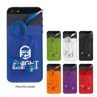 Stretch Phone Card Sleeve With Ear Buds