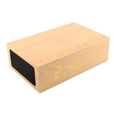 Customizable BlueSequoia Alarm Clock w/ Qi Charging Station & Wireless Speaker