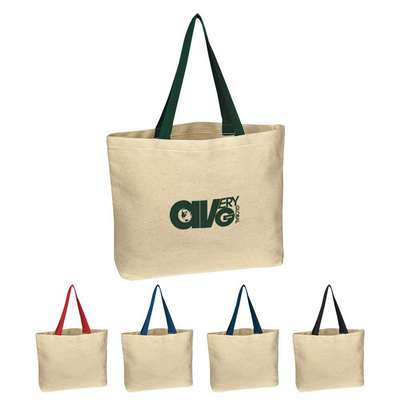 Natural Cotton Canvas Tote Bag - Embroidered