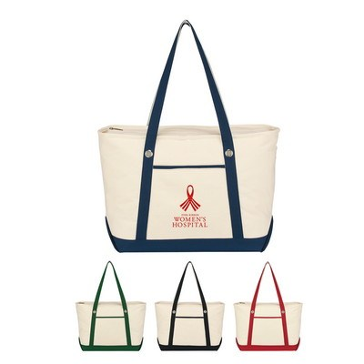 Large Cotton Canvas Sailing Tote - Embroidered