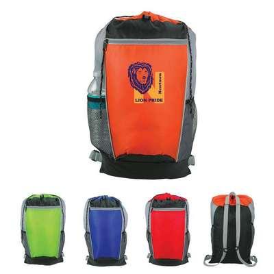 Tri-Color Drawstring Backpack - Screen Printed