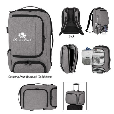 Promotional Heathered RIFD Computer Backpack and Briefcase - Embroidered
