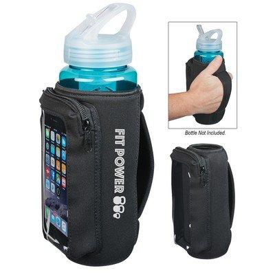 Imprinted Neoprene Bottle Kooler with Phone Holder