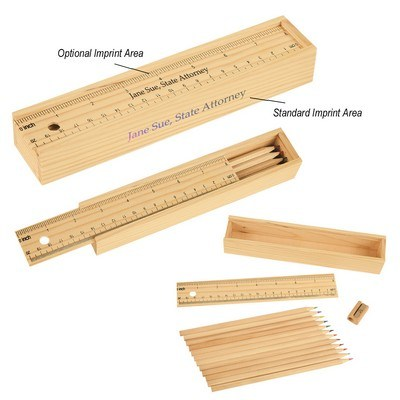 Personalised 12-Piece Colored Pencil Set in Wooden Ruler Box