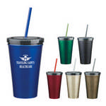 Picture of 16 Oz. Stainless Steel Double Wall Tumbler With Straw