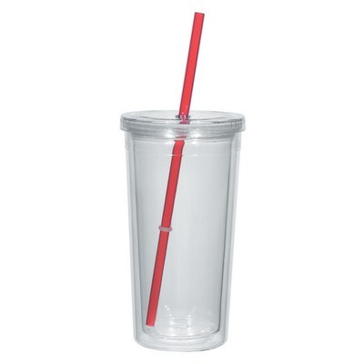 24 Oz. Double Wall Acrylic Tumbler With Straw