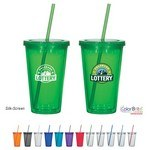 Picture of 16 Oz. Double Wall Acrylic Tumbler With Straw