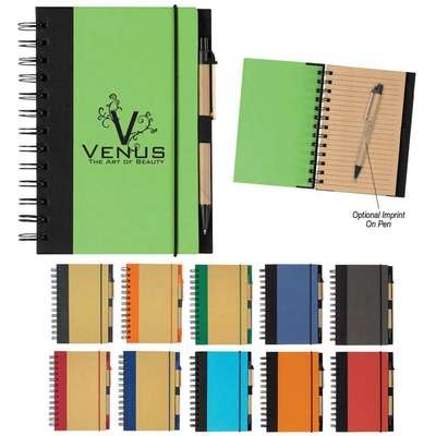 "Eco-Friendly 5"" X 7"" Spiral Notebook & Pen"