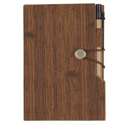 """Custom-made 4"""" x 6"""" Woodgrain Look Notebook w/ Sticky Notes & Flags"""