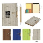 "Picture of Custom-made 4"" x 6"" Woodgrain Look Notebook w/ Sticky Notes & Flags"