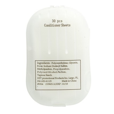 Promotional Conditioner Sheets In Compact Travel Case